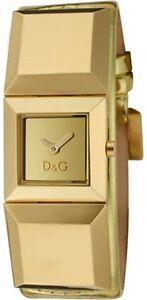 NEW D&G DOLCE GABBANA METAL STUD GOLD METALLIC LEATHER WATCH-DW0273