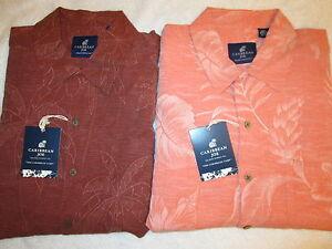 NWT-Caribbean-Joe-Hawaiian-100-Washable-Silk-Mens-Maui-Peach-Shirt-Size-Med-NEW
