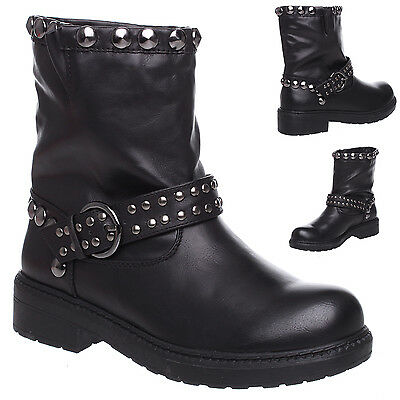WOMENS LADIES BLACK PULL UP STUDS WINTER CHELSEA BUCKLE ANKLE BOOTS SHOES SIZE