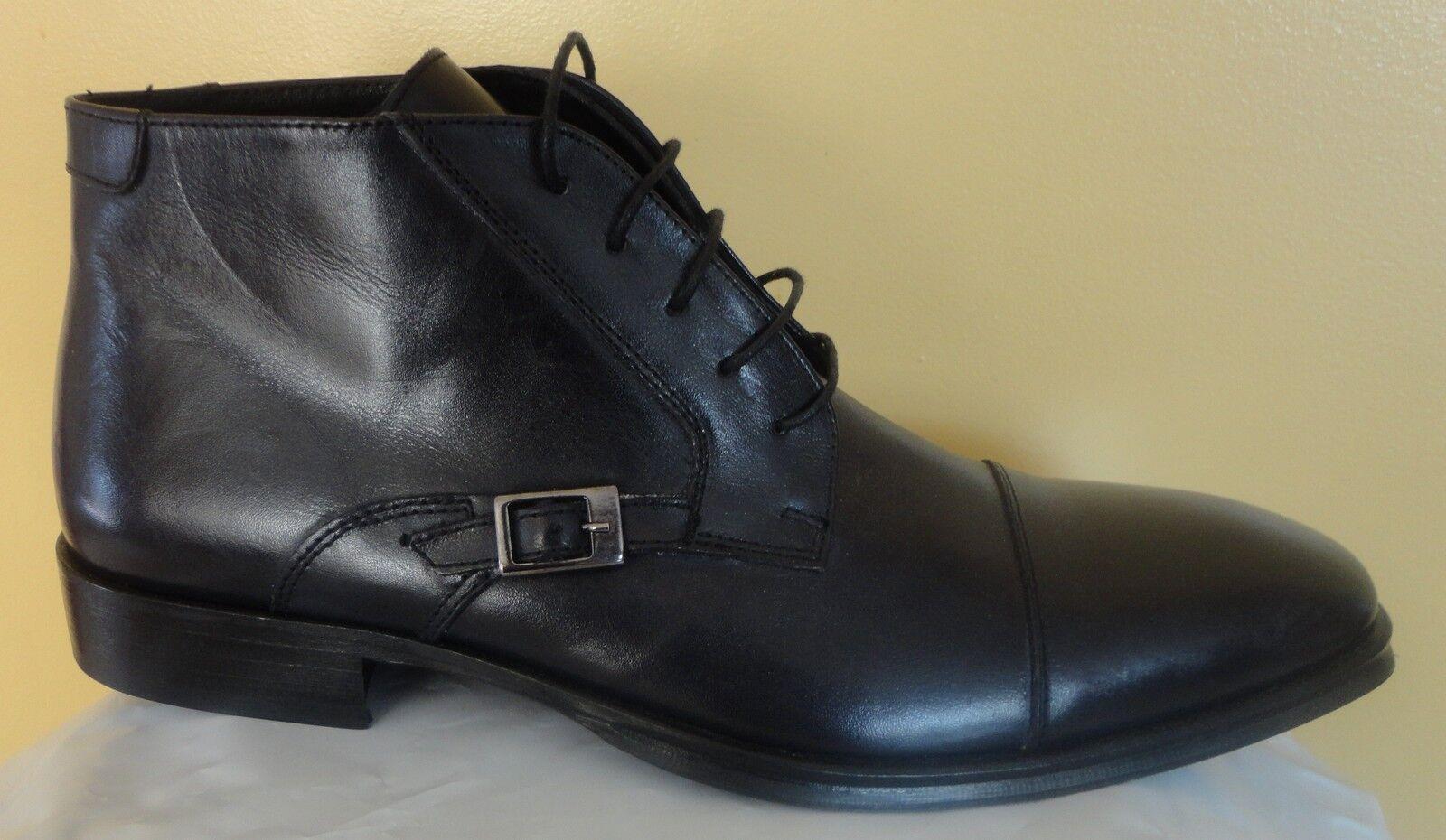 botas De Cuero Italiano Para Hombres Con Cordones Con Hebilla De Lado Negro Zapatos EE. UU. 10 43 Euro