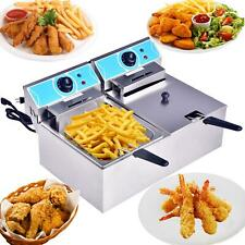 4000w 20l Electric Deep Fryer Dual Tank Commercial Restaurant Stainless Steel Us