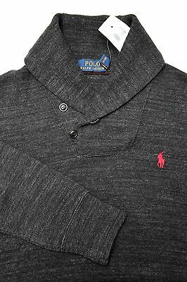 NWT Polo Ralph Lauren Mens Shawl Collar Charcoal Pullover Cotton Sweat Sweater S