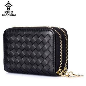 Weave Genuine Leather Women s Credit Card Wallet Coin Case Car Key ... c7ec9aa35e