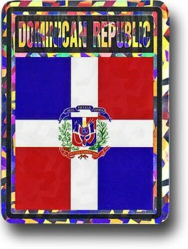 Wholesale Lot 6 Dominican Republic Country Flag Reflective Decal Bumper Sticker