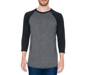American-Apparel-Mens-T-Shirt-Black-Gray-Size-Large-L-Raglan-Crew-Tee-32-152