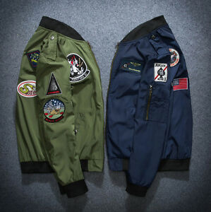 New MENS EMBROIDERED CASUAL WORK JACKET MILITARY ARMY FLIGHT BOMBER JACKET COAT