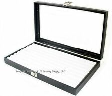1 Wholesale Glass Top Lid White 8 Row Ring Display Portable Storage Boxes Case