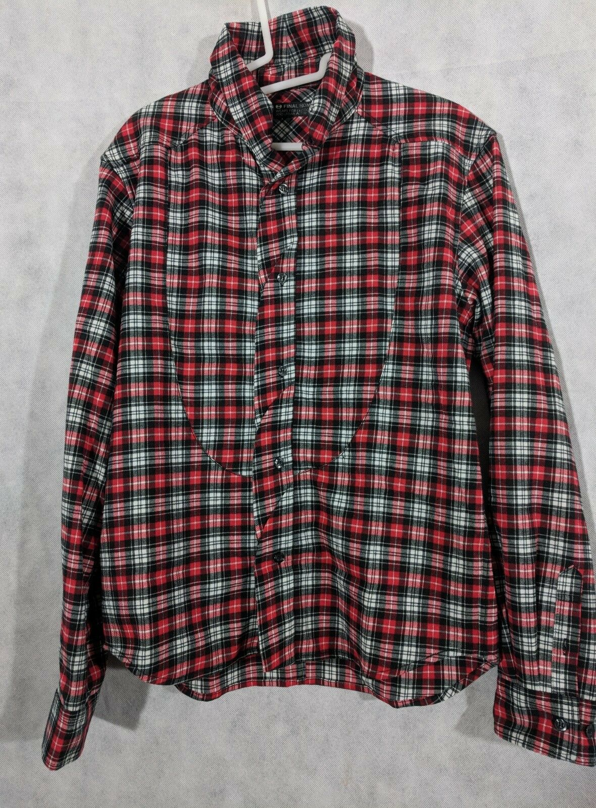 Final Home Flannel Deconstructed Seams Plaid Shirt Size Medium Issey Miyake