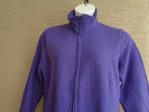 New Just My Size Cotton Blend Fleece Lined Zip Front Mock Neck Jacket 1X Purple