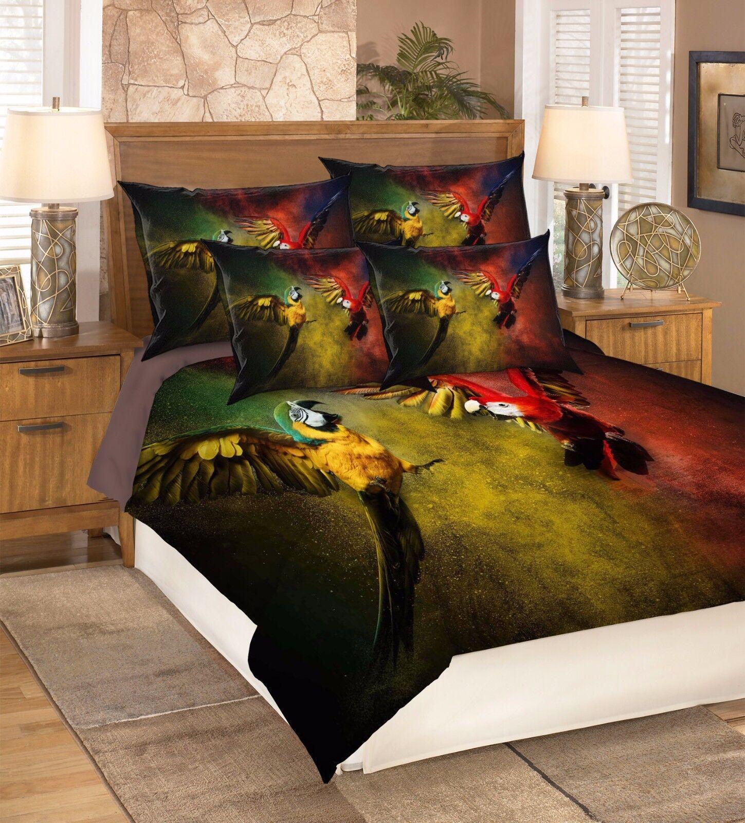 3D Two Coloreeosso Parrossos 52 Bed Pillowcases Quilt Duvet Cover Set Single Queen CA