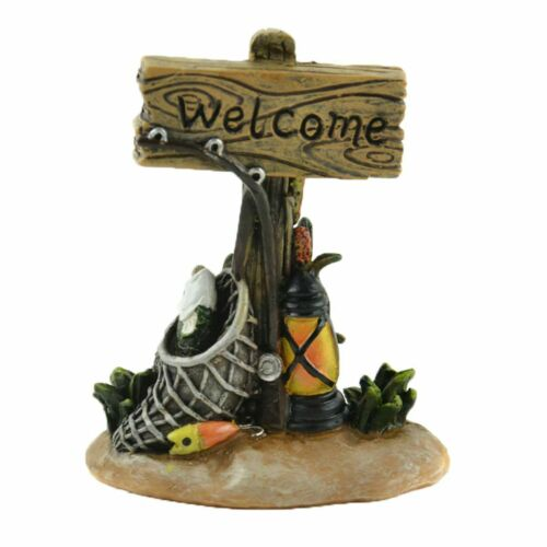 "Miniature Fairy Garden Fishing /""Welcome/"" Sign Buy 3 Save $5"