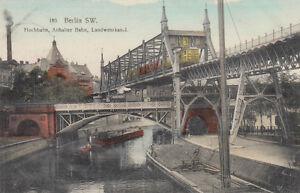 POSTKARTE-CA-14X9-CM-BERLIN-DIE-HOCHBAHN-ANHALTER-BAHN-LANDWEHRKANAL-G1955