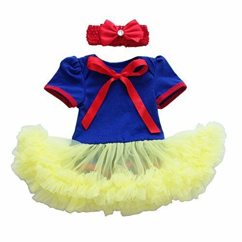NEW BABY GIRL SNOW WHITE ROMPER COSTUME with free headband Size 000-2