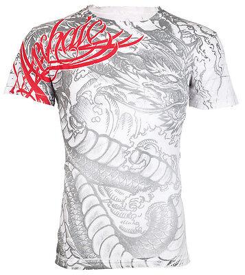Archaic AFFLICTION Mens T-Shirt DRAGON RAGE Tattoo WHITE Biker Gym MMA UFC $40