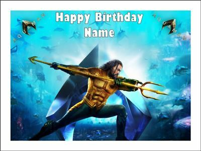 AQUAMAN Edible Cake Topper Icing Image Birthday Party ...