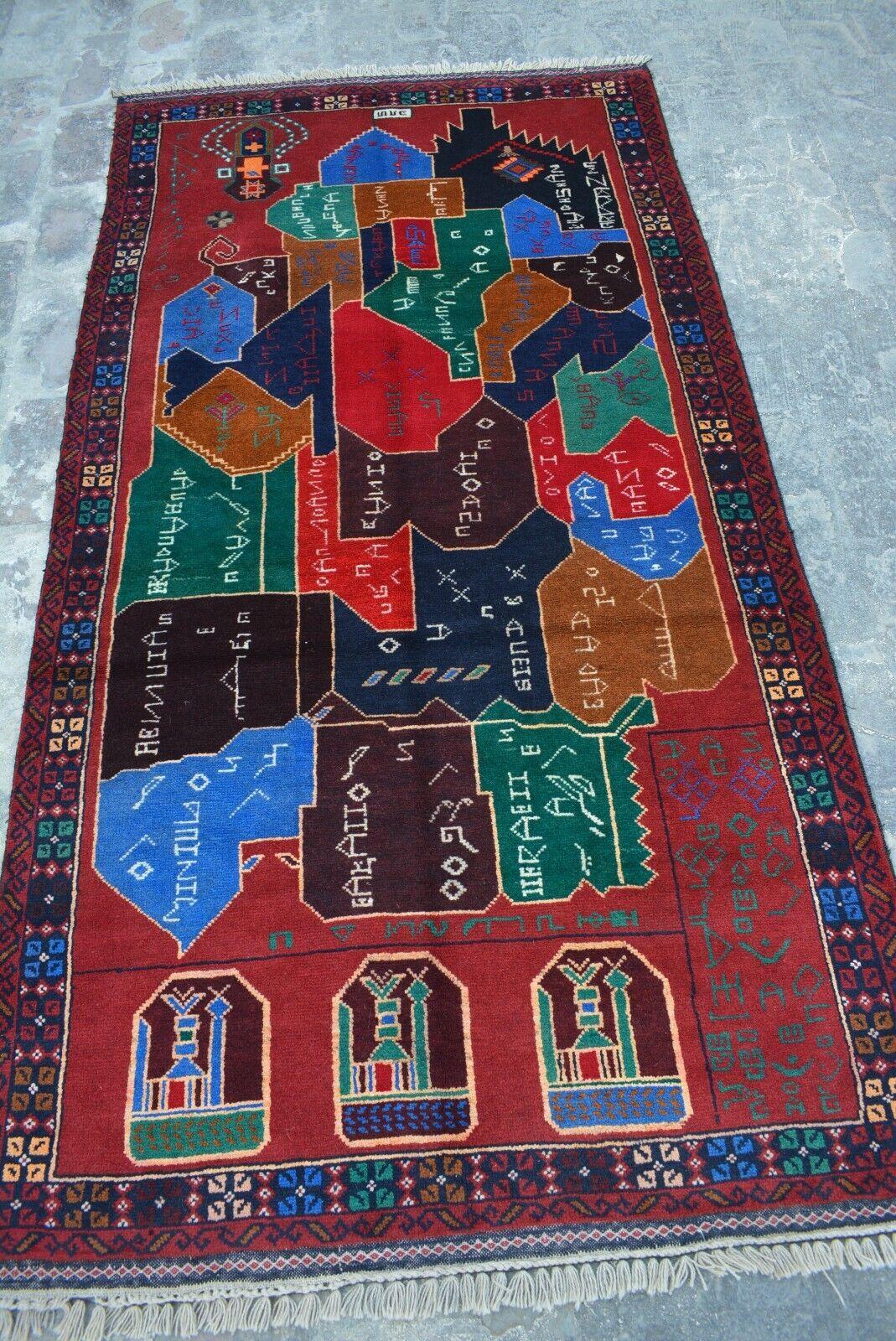 F894 Gorgeous Handmade Afghan Tribal Map Rug   Afghan Rug  3'7 x 6'10 Feet