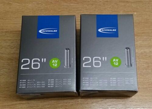 """2 X Schwalbe AV12 chambres à air 26/"""" X 1.3//8 40 mm Schrader Valve"""