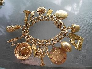 Image Is Loading Vintage Chunky 14k Gold Charm Bracelet With 15