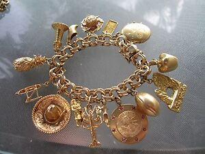 Vintage Chunky 14k Gold Charm Bracelet