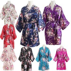 ac0fda9f84 Image is loading Silk-Satin-Floral-bridesmaid-robes-gowns-bride-bath-