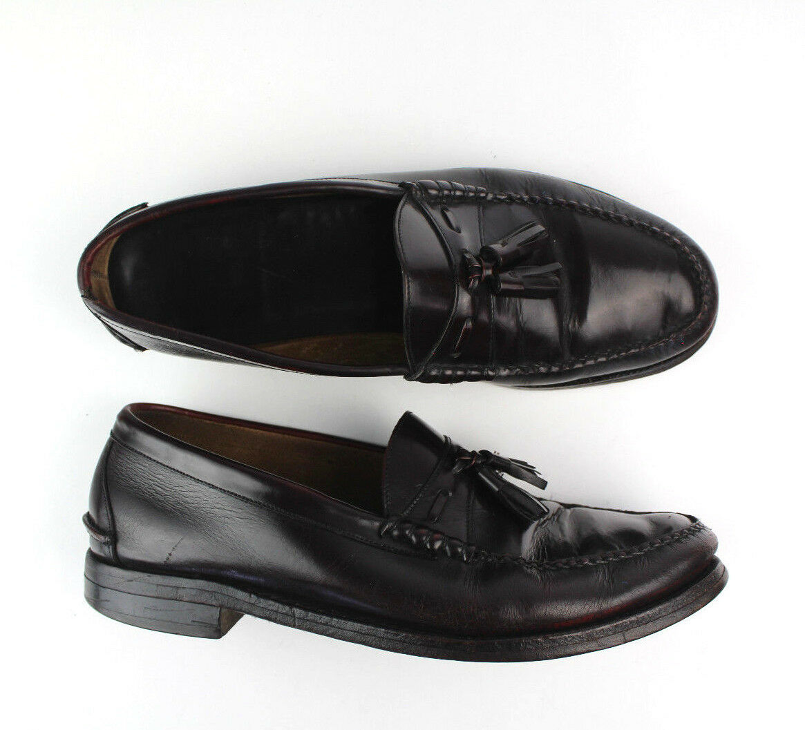 279 Johnston & Murphy Aristocraft Tassel Loafer Sz 12 Burgundy Leather