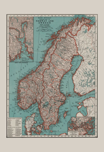 NORWAY MAP SWEDEN Map Vintage Map Wall Art, Vintage Map of Norway and Sweden