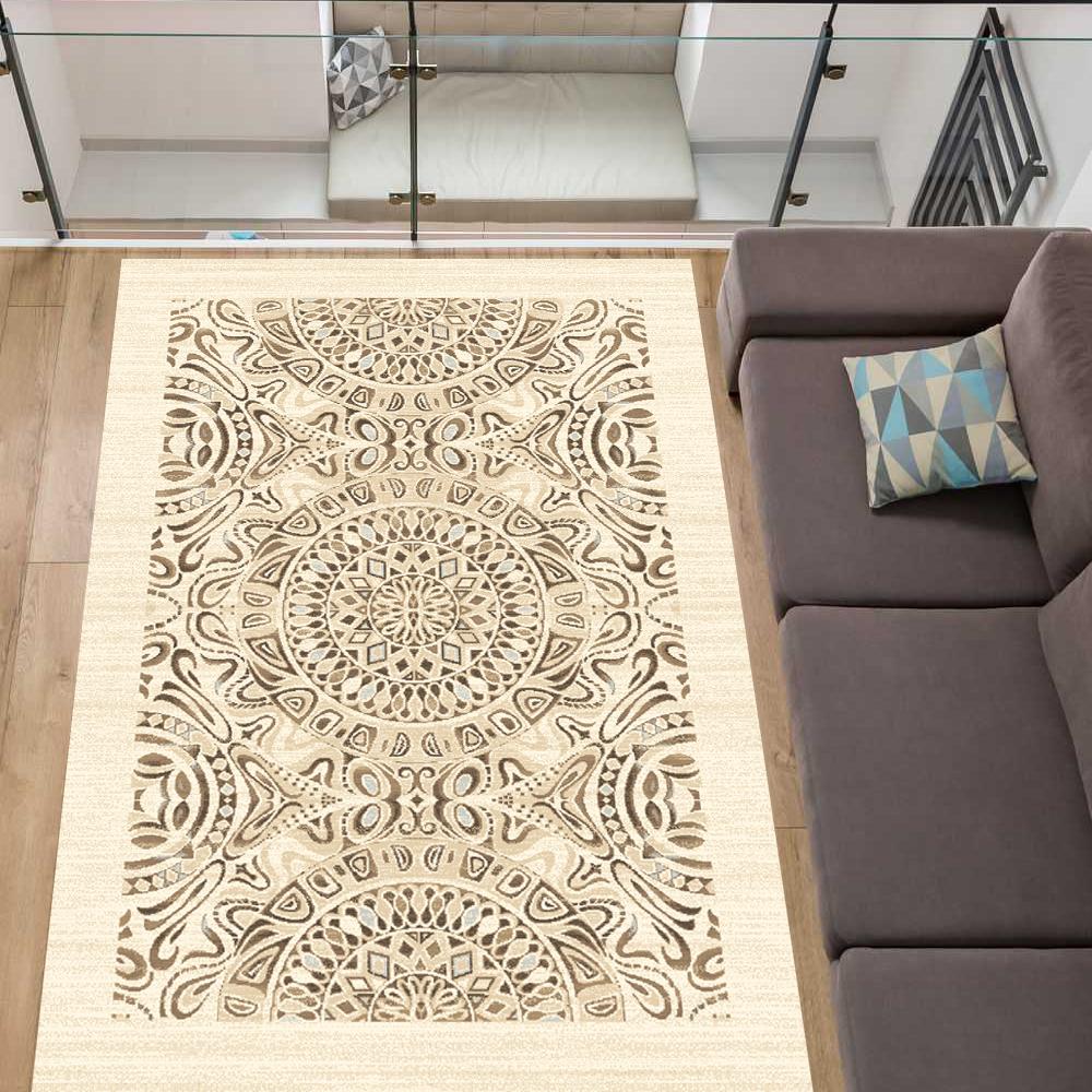 Ökologischer Teppich Teppich Teppich 100% ungefärbte Wolle Natur 2 Internationale Siegel Beige 61a927
