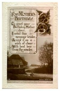 Antique RPPC real photograph postcard card For Mothers Birthday landscape