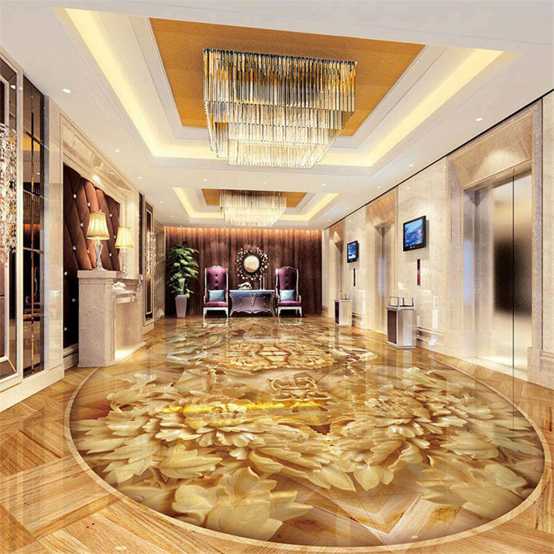 Luxury Gold Fade Carved 3D Floor Mural Photo Flooring Wallpaper Home Wall Decal
