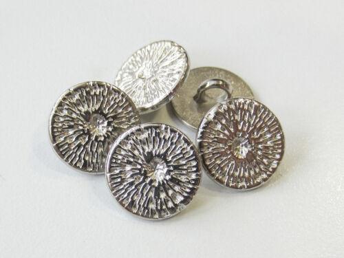 3619sg-13mm 5 petites brillant argentée métal boutons avec web motif