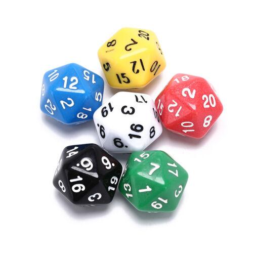 6pcs//Set jeux multi-côtés Dice D20 Gaming dices jeu jouant la couleur mélangée