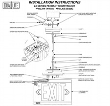 Pmlxw White Lx Series Pendant Mounting Kit 12 12 Dual Lite For Exit Sign