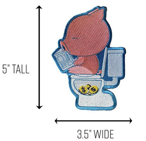 Cha Ching Pig Pooping Coins Toilet Funny Parody Novelty Iron On Patch Applique