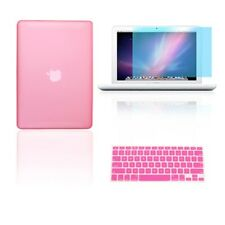 """3 in 1 Rubberized PINK Case for Macbook White 13"""" + Keyboard Cover +  LCD Screen"""