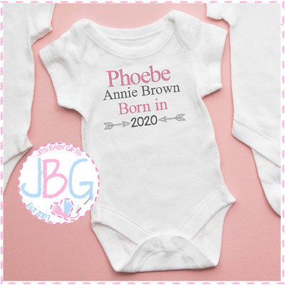 Gift Personalised Baby Girls /'Born in 2020/' Sleepsuit Embroidered Baby Grow