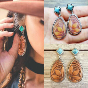 Charm-Vintage-925-Silver-Jewelry-Turquoise-Hook-Earrings-Dangle-Ear-Stud-Boho