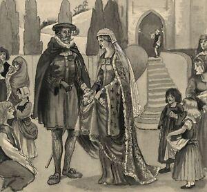 Dorothy-B-M-Kerr-Tudor-Marriage-Scene-039-Roses-039-1903-watercolour-painting