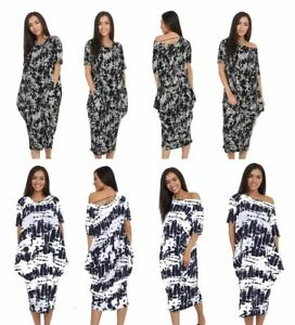 Ladies-Oversized-2-Pocket-Off-Shoulder-Printed-Baggy-Midi-Dress-Tie-Dye-Splash
