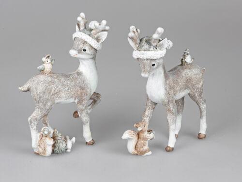 24 cm art Pierre d/'Art Formano w20 2er Set Déco Cerfs hiver avec bonnet debout H