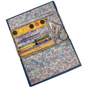 Antique 30s Leatherette Novelty Co Art Pencil Box Pilgrims & Indians RARE