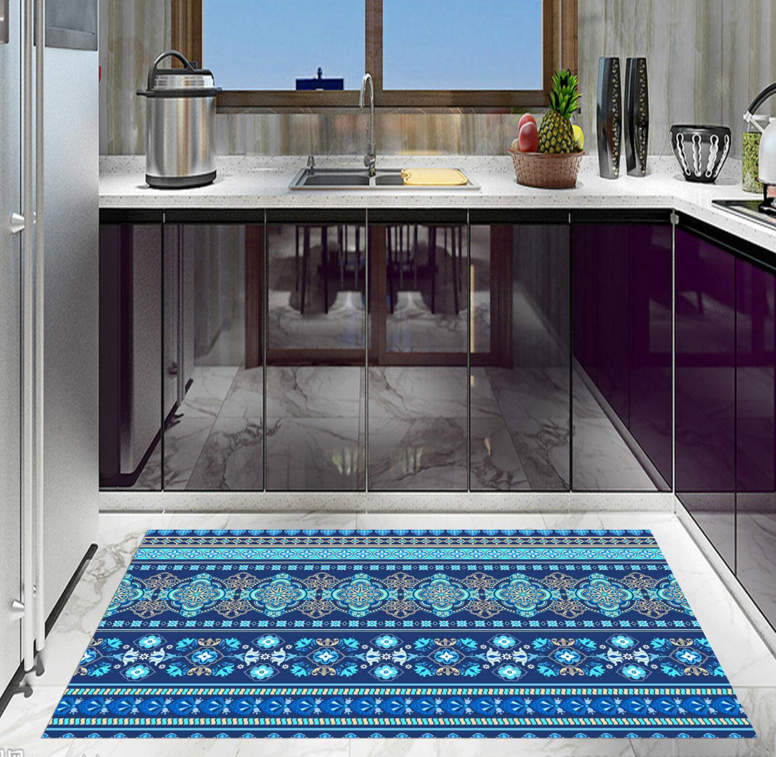 3D Blau Pattern 3 Kitchen Mat Floor Murals Wall Print Wall Deco AJ WALLPAPER CA