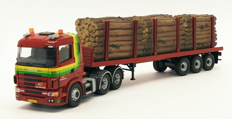 CORGI 1 50 Scale cc12208-SCANIA Flatbed CARAVANE & Log load-Van Der Wiel