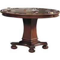 Vintage Poker Table Round Antique Casino Game Crown Chip Old Wooden Play Room