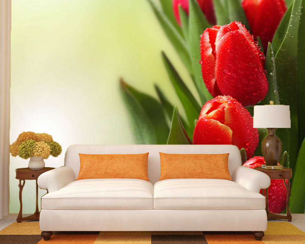 3D ROT Tulip 504 Wallpaper Wallpaper Wallpaper Murals Wall Print Wallpaper Mural AJ WALL UK Jenny 900403