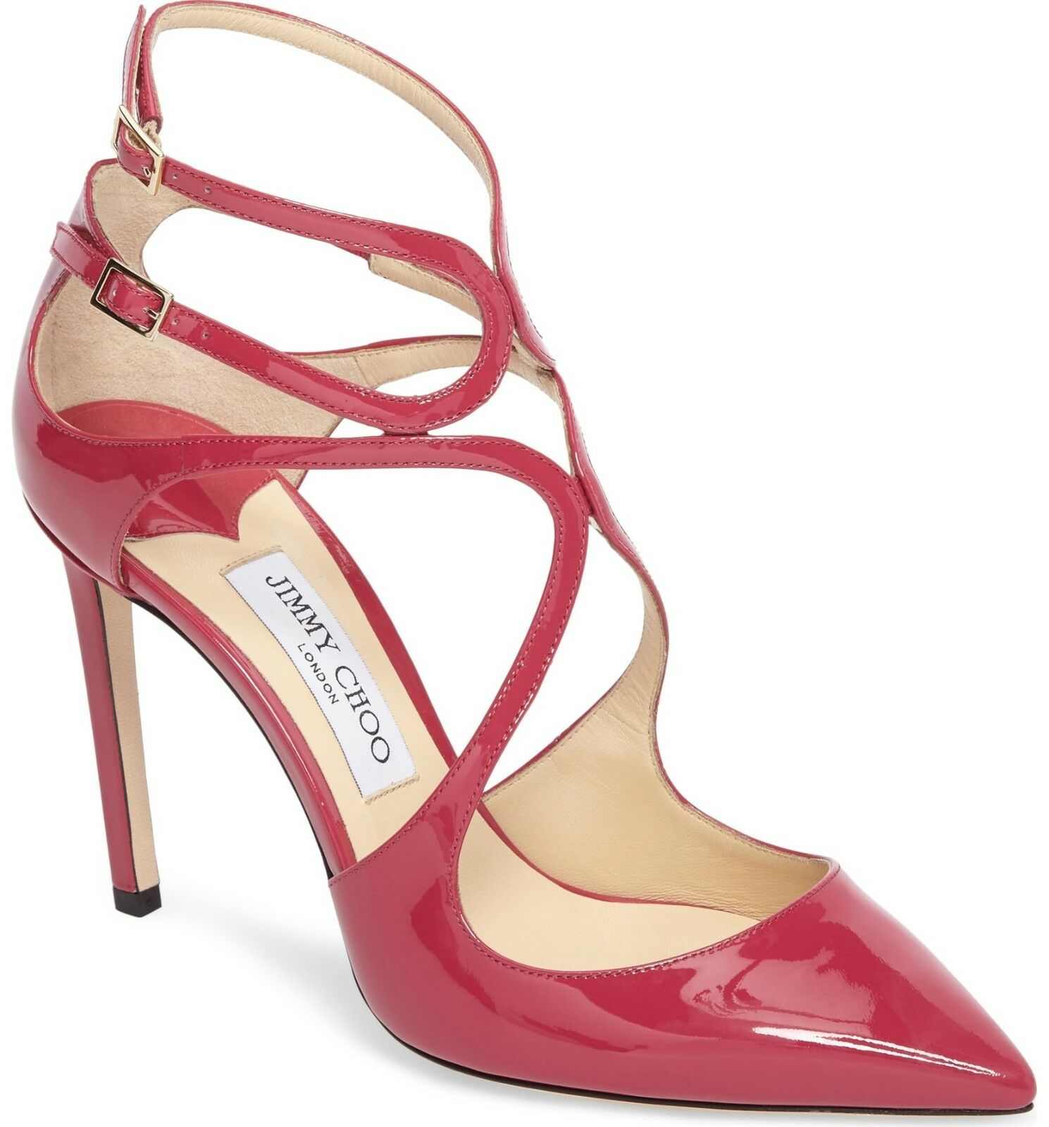 NIB  795 Jimmy Choo Lancer Strappy Pump Heel shoes CERISE PINK Patent 36 - 5.5