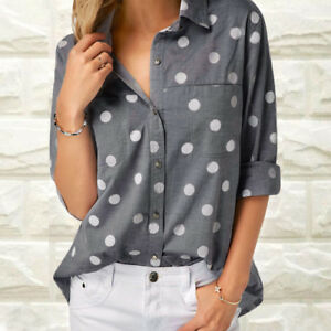 Womens-Laeies-Work-Office-Shirts-Long-Sleeve-Casual-Blouse-Tee-Top-Size-S-XL-AB