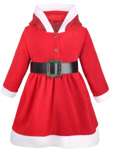 Lilax Little Girls/' Holiday Christmas Santa Sparkle Hood Red Dress with Belt 7