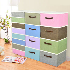 Foldable-Fabric-Cube-Storage-Box-Bin-Basket-Containers-Organizer-W-Lid-Handle-US