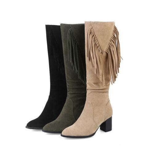 Womens Thigh Knee High Boots Tassels Fringe High Block Heel Suede Shoes Sz 2-11
