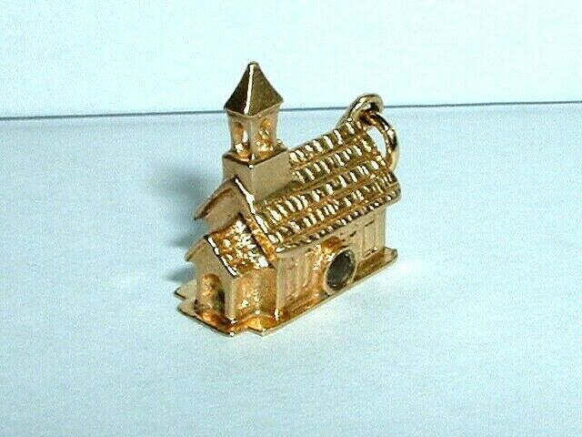 VINTAGE 14k YELLOW gold 3D CHURCH STANHOPE PENDANT CHARM